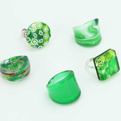 Green Murano Glass Rings