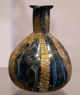 Roman Glass Gold Leaf Vase
