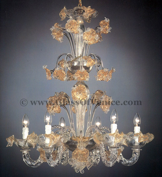 Tiepolo series Chandelier 6 lights with crests